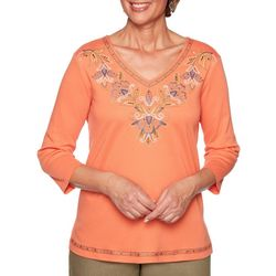 Alfred Dunner Womens Lake Tahoe Floral V-Neck Top