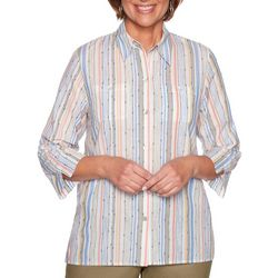 Alfred Dunner Womens Lake Tahoe Dobby Vertical Stripe Top