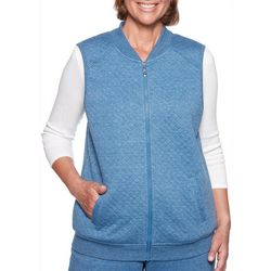 Alfred Dunner Womens At Ease Zip Up Quilted Vest