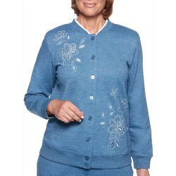 Alfred Dunner Womens At Ease Embroidered Button Front Jacket