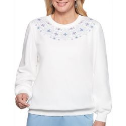 Alfred Dunner Womens Floral Embroidery Long Sleeve Top