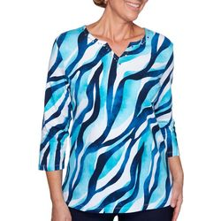 Alfred Dunner Womens Easy Street Wavy Print Top