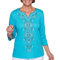 Alfred Dunner Womens Easy Street Center Embroidered Top