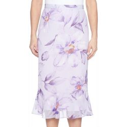 Alfred Dunner Womens Roman Holiday Floral Flared Skirt