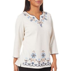 Alfred Dunner Womens News Flash Embroidered Floral Top