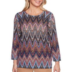 Alfred Dunner Womens News Flash Chevron Print Sweater