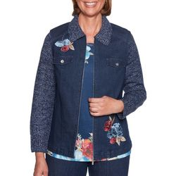 Alfred Dunner Womens News Flash Embroidered Floral Jacket