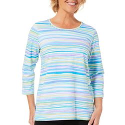 Alfred Dunner Womens Butterfly Effect Striped Top
