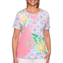 Alfred Dunner Womens Palm Coast Tropical Braid Neck Top