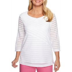Alfred Dunner Womens Palm Coast Textured Stripes Top