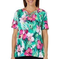 Alfred Dunner Womens Palm Coast Hibiscus Crisscross Top