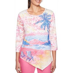 Alfred Dunner Womens Palm Coast Tropical Scene Top