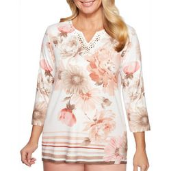 Alfred Dunner Womens Good To Go Floral Striped Top