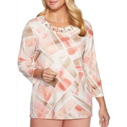 Alfred Dunner Womens Good To Go Jeweled Square Print Top
