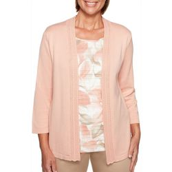 Alfred Dunner Womens Good To Go Floral Duet Sweater
