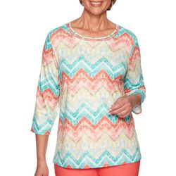 Alfred Dunner Womens Costal Drive Chevron Print Top