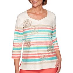 Alfred Dunner Womens Costal Drive Medallion Stripe Top