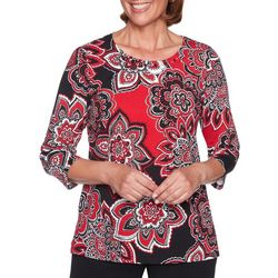 Alfred Dunner Womens Sutton Place Medallion Print Top