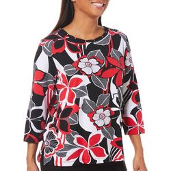 Alfred Dunner Womens Sutton Place Abstract Floral Top