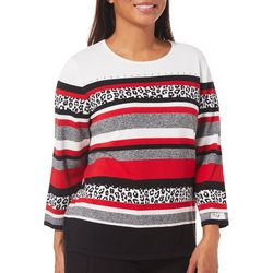 Alfred Dunner Womens Sutton Place Embellished Striped Top