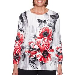 Alfred Dunner Womens Sutton Place Embellished Floral Top