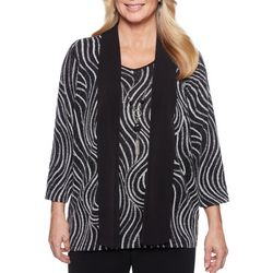 Alfred Dunner Womens Shining Moment Necklace & Wavy Top