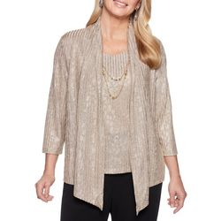 Alfred Dunner Womens Shining Moment Necklace & Duet Top