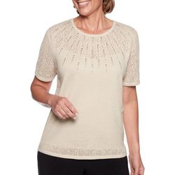 Alfred Dunner Womens Shining Moment Beaded Pointelle Top