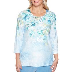 Alfred Dunner Womens Simply Irresistible Lace Neck Top