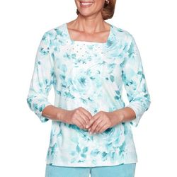 Alfred Dunner Womens Simply Irresistible Floral Lace Top