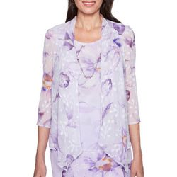 Alfred Dunner Womens Roman Holiday Floral Duet Top