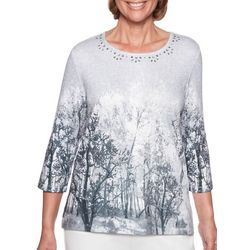 Alfred Dunner Womens Stocking Stuffers Forest Print Top