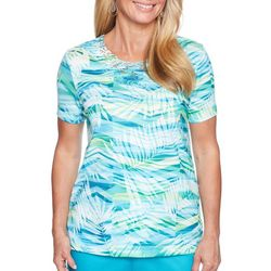 Alfred Dunner Womens Scottsdale Abstract Leaves Top