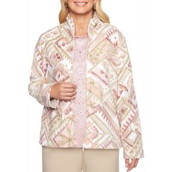 Alfred Dunner Womens Home For The Holidays Fleece Jacket
