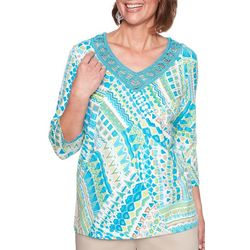 Alfred Dunner Womens Scottsdale Abstract Crochet Top