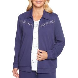 Alfred Dunner Womens Comfortable Situation Jeweled Jacket