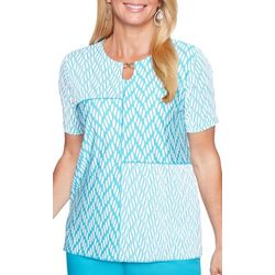 Alfred Dunner Womens Scottsdale Keyhole Patchwork Top