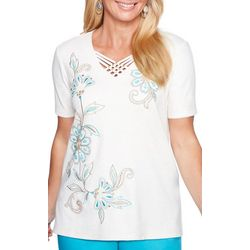 Alfred Dunner Womens Scottsdale Embellished Floral Top