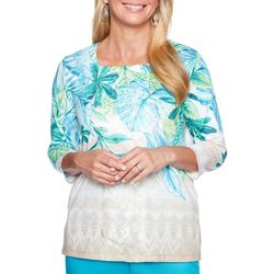 Alfred Dunner Womens Scottsdale Embellished Tropical Top