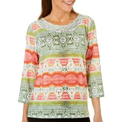 Alfred Dunner Womens Parrot Cay Embellished Neck Top