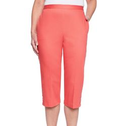 Alfred Dunner Womens Parrot Cay Solid Button Hem Capris
