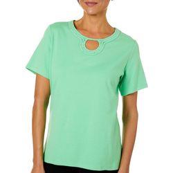 Alfred Dunner Womens Embellished Keyhole Short Sleeve Top