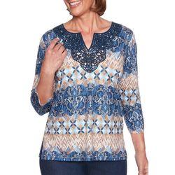 Alfred Dunner Womens News Flash Mixed Crochet Top