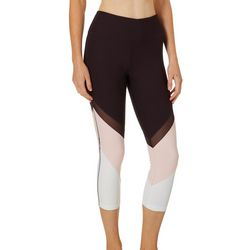 VOGO Womens Diagonal Colorblock Capri Active Leggings