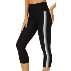 VOGO Womens Solid Side Stripe Capri Leggings