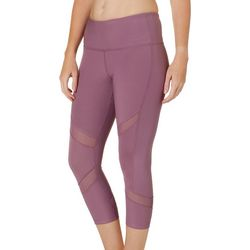 VOGO Womens Solid Moto Mesh Panel Performance Capris