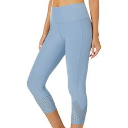 VOGO Womens Solid Mesh Bottom Capri Leggings