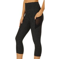 VOGO Womens Heathered Mesh Side Pockets Capri Leggings