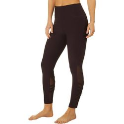 VOGO Womens Solid Mesh Lattice Panel Capri Leggings