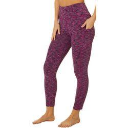 VOGO Womens Space Dye Side Pockets Crop Leggings